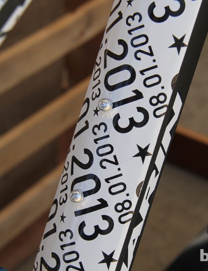 The date on the stickers is a refrence to when the production bikes will debut