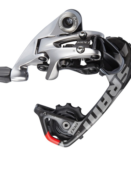 The Red 22 WiFli rear derailleur accepts cassettes up to 32t
