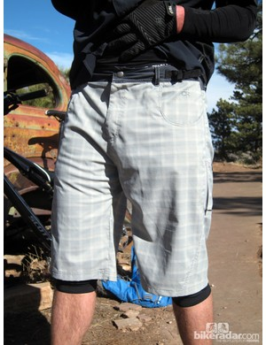The Mountain Surf shorts' waist can be adjusted with the provided pair of cam-locks, or a belt