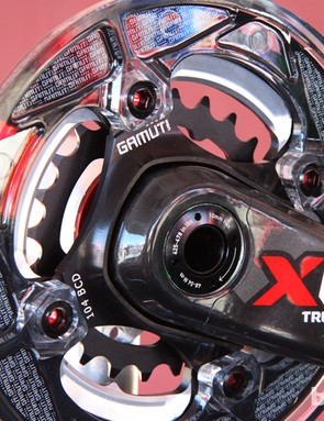 Gamut's new machined aluminum chainring spider fits SRAM X0 and X9 GXP or BB30 cranks and allows the use of a standard 104mm bashguard
