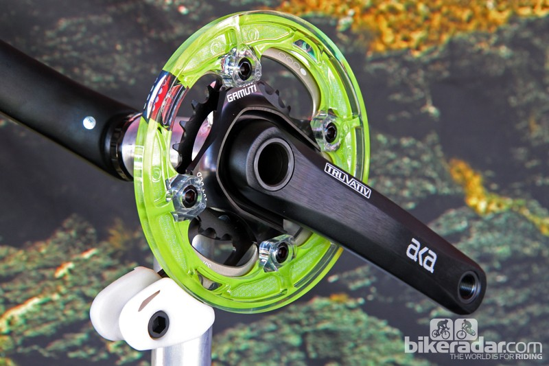 The new Gamut Dual S chainguide uses a double-width lower slider to work with 2x drivetrains