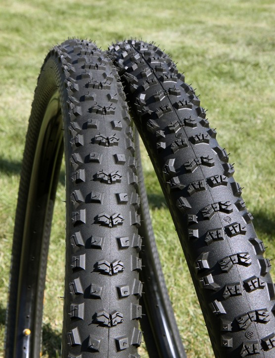 The Continental Mountain King (left) and Trail King (right) treads designed for similar conditions but the former's more rounded profile and bigger shoulder gap lends a more 'on and off' cornering personality while the Trail King is more progressive and forgiving