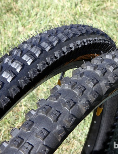 Continental's premier DH race tires are the new Kaiser Projekt 2.4 (left) for 'all conditions' and the Baron 2.5 (right) for softer terrain