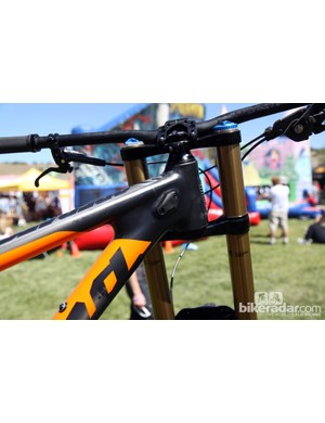 Integrated stanchion bumpers are placed just behind the tapered head tube on Kona's new Carbon Operator