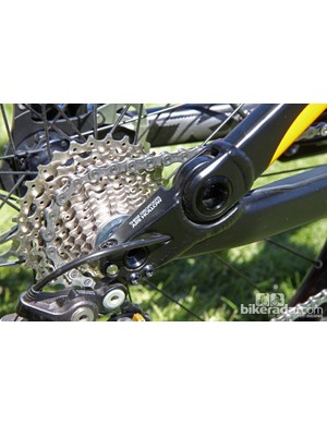 Dropouts are milled out from the bottom and welded to the chain stays to create a fully enclosed, hollow structure