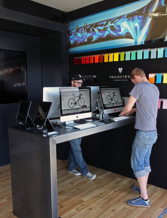 Multiple computer stations allow potential customers to tweak their creations directly on the Project One web site