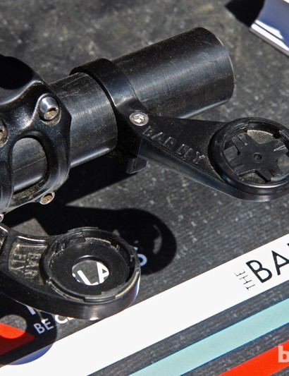 Tate Labs' Bar Fly 1.1 (right) uses a unique eighth-turn mount so that Garmin computers can be mounted in either portrait or landscape orientations depending on the model. There's also a model for CycleOps computers, too (left)