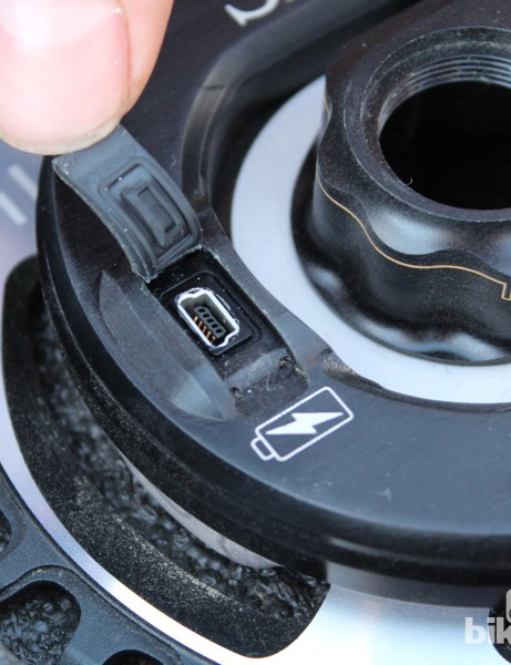 The mini-USB-rechargeable design is being tested on MTB cranks with the end goal of introducing it on road models, too