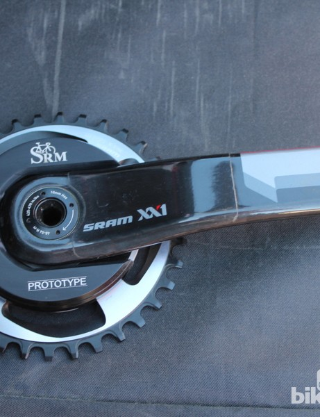 The prototype SRAM XX1 SRM crank with mini-USB-recharge port