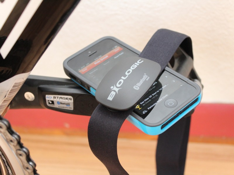 While ANT+ is the main standard for wireless cycling communication, Bluetooth works directly with smartphones. The new Stages power meter works on ANT+ and Bluetooth. With a Stages meter, a BioLogic strap and and iPhone, you can have a pretty sophisticated yet low-profile training package
