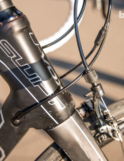 The TI's chunky head-tube promotes laser-guided steering
