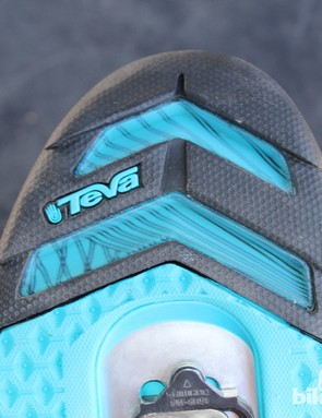 Teva cut substantial chunks out of the rubber tread to reduce weight and add traction