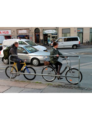 Copenhagen cyclists usually ride without a helmet