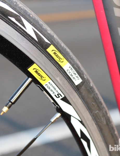 Ksyrium Equipe S wheels are wrapped in Yksion Pro rubber