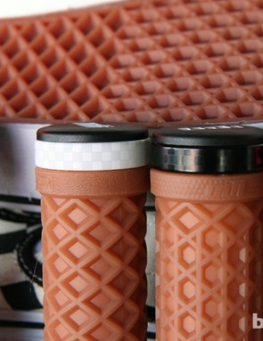 ODI is finalizing details on the new Vans grips but hopes the subtle checkerboard pattern on the clamps will stay put