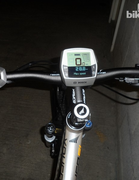 The cockpit on this Xduro e-MTB features an LCD display and controls for the electric motor