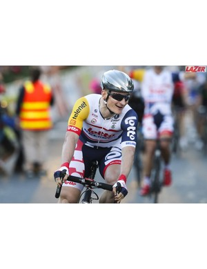 Andre Greipel is one pro cyclist to have been using the chrome Lazer Helium FAST aero helmet