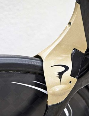 The rear brake is integrated into the seatstays