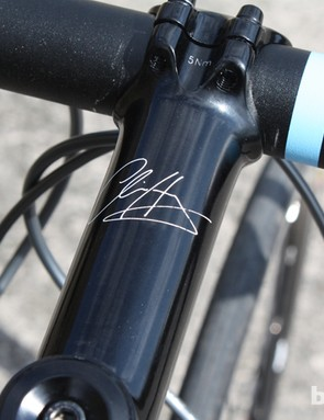 Own-brand stem with a signature from Sir Chris himself