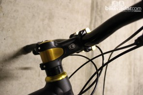 The Iodine 1 CrankBros stem continues the black-and-gold theme