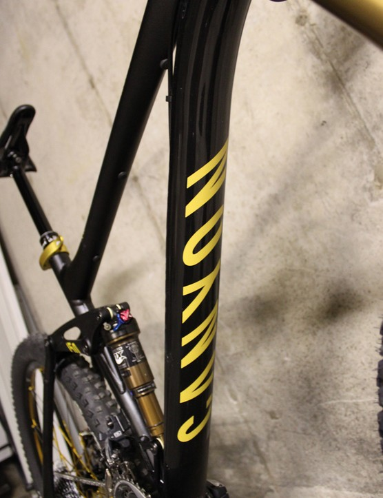 The down tube is protected by an adhesive plastic cover branded with the Canyon logo