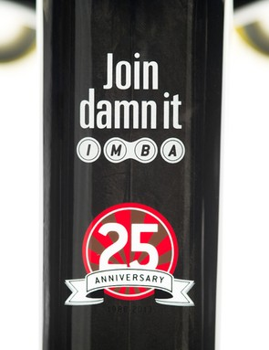The friendly 'Pedal Damn It' top tube motivator has been replaced on these limited edition frames