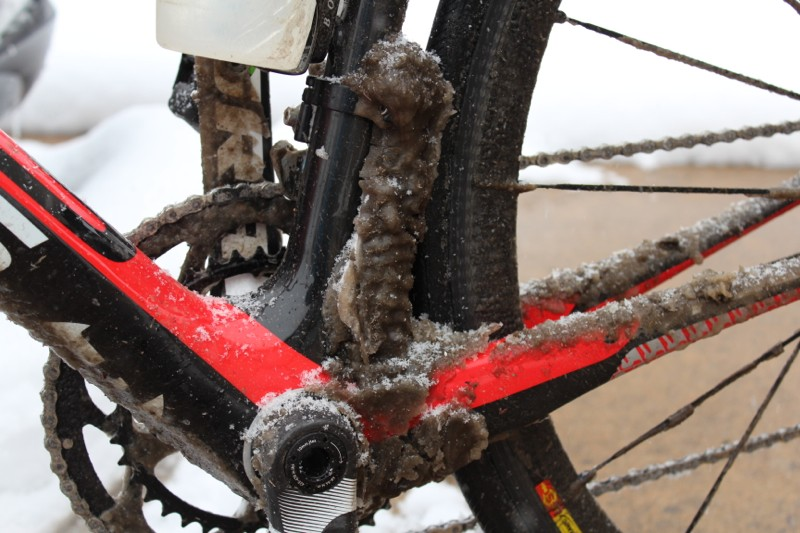 ... it allows for smooth shifting in horrible conditions. This road splatter froze solid between the down tube - and the front derailleur shifted fine