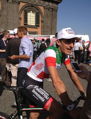 Franco Pellizotti, the Italian national champion stops for a word after being introduced to the crowds