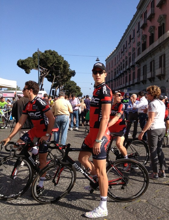 Taylor Phinney (BMC Racing) stands tall before being presented to the fans