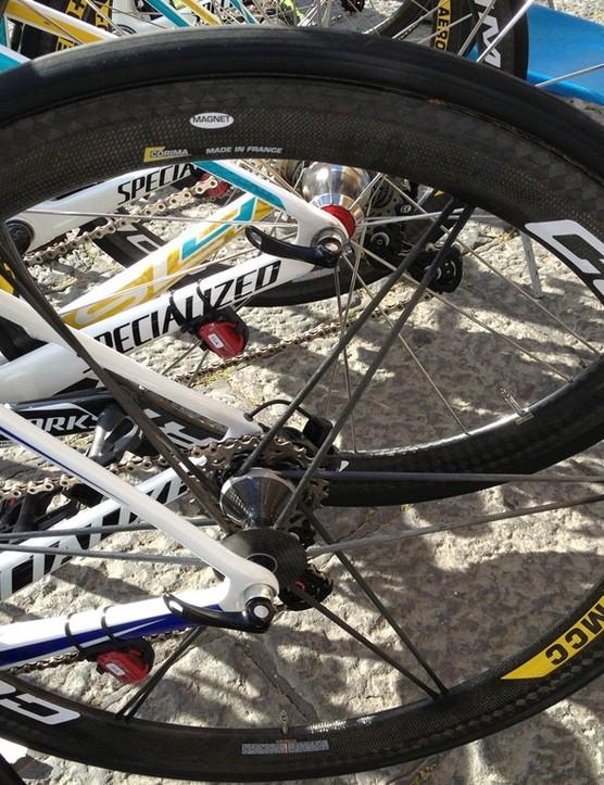 The Astana squad roll on Aero Corima Aero+ MCC wheels
