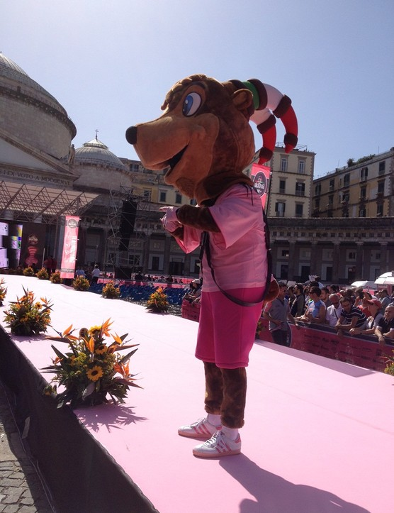 The Giro d'Italia's mascot, Girbecco – a mountain goat – was out to whip up the crowds with his antics before the riders appeared on the stage in Naples