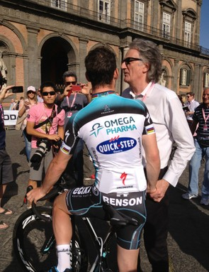 Paul Smith speaking with Mark Cavendish at the Giro presentation