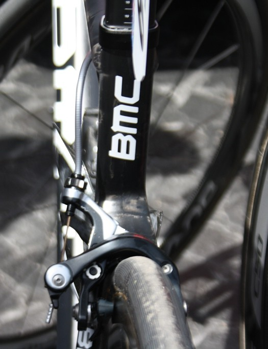 The seatstays, like many BMC frames have a very acute angle and connect almost halfway down the seat tube