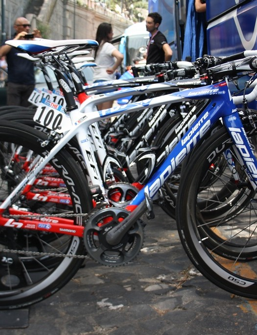 Third on the day, sprinter Nacer Bouhanni's (FDJ) Lapierre Xelius EFI 800 ready and waiting for the race to begin