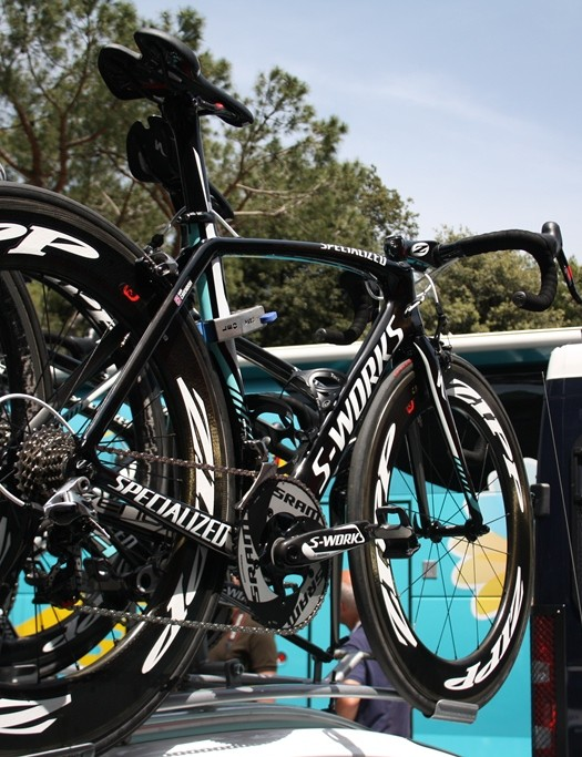 Mark Cavendish's spare Specialized Venge, positioned within easy reach if there was a hitch. Cav was one of the favourites for today's stage