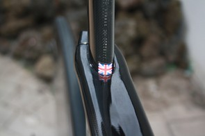 Small Union Jack set at seat tube height