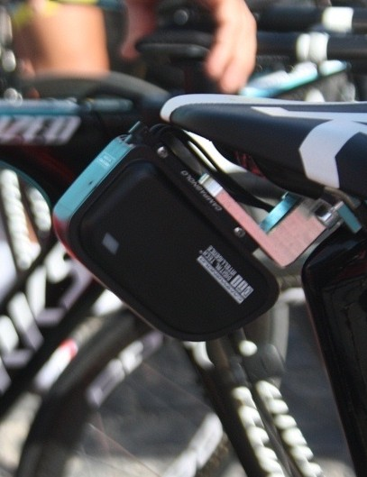 Machined clamp for the Campagnolo EPS brainbox held just behind the saddle on Astana's bikes