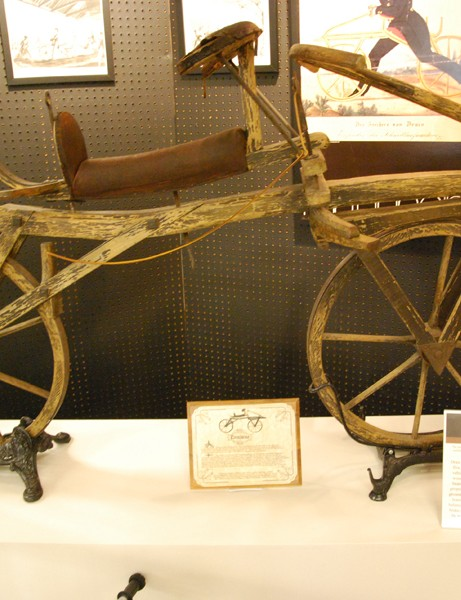 A replica of the Draissine – the first bicycle, which was designed in 1816