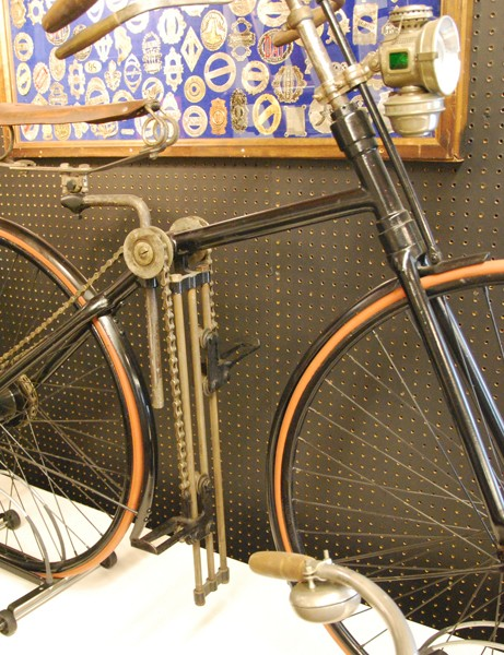 An 1890 White Flyer – one of the three known to exist. This bicycle had an unusual pulley and chain drive system