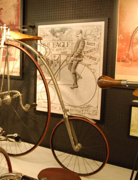 An 1887 pattern high-wheel bicycle – along with period photos and artwork showing the popularity of such bicycles
