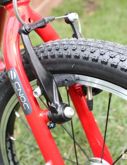 Kenda rubber and a TRP brake add an unusual level of performance for kids' machines
