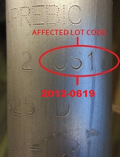 Forks impacted by this recall have serial numbers stamped into their steerer tubes