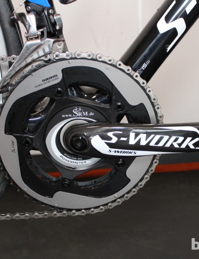 Duggan has a wireless SRM power meter on his S-Works crank with SRAM Red 2012 chainrings