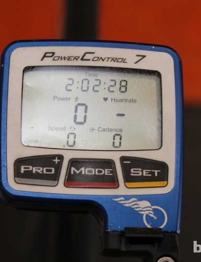 The wireless head unit for Duggan's SRM power meter provides vital information to rider, coach and team