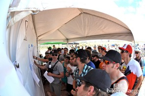 No matter how casual the racing seemed, it was the usual mad rush to the results board when times were posted