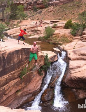 Your author, cooling off in Moab after a day of enduro racing