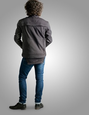 A rear flap can be worn down for riding or tucked up when off the bike