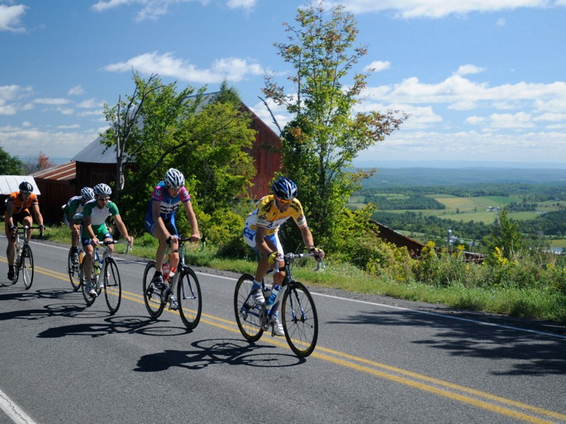 Roger Aspholm (Westwood Velo) leads the chase group up Mt. Pisgah in the 2010 Tour of the Catskills