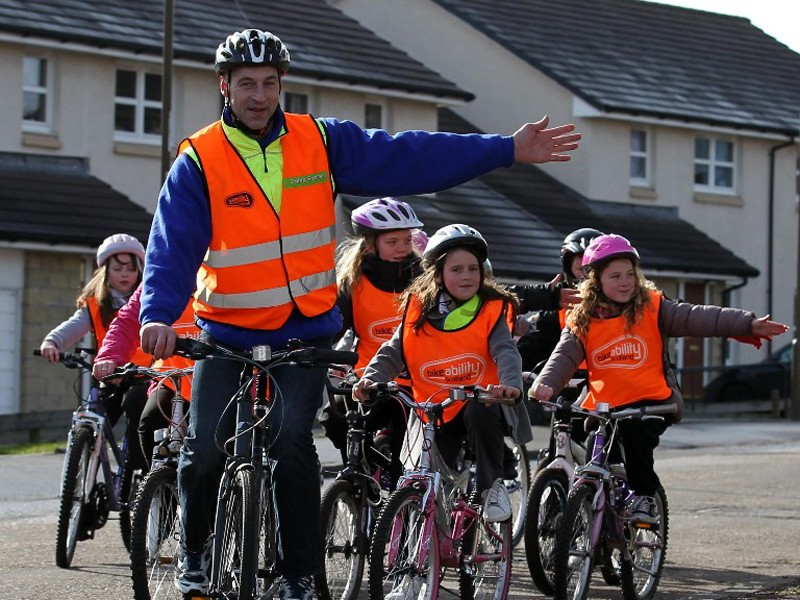 Graeme Obree, aka the Flying Scotsman, promoting Bikeability cycling proficiency courses in Edinburgh