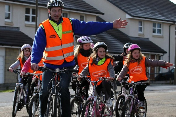 Graeme Obree, aka the Flying Scotsman, promoting Bikeability cycling proficiency courses in Edinburgh